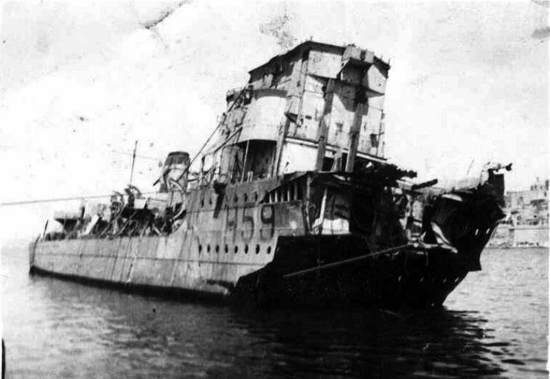 Tired and torn ... the wreck of HMS Gallant in Malta harbour. The ship was judged to be a total loss and her remaining guns and equipment were stripped to help defend the beleaguered island.