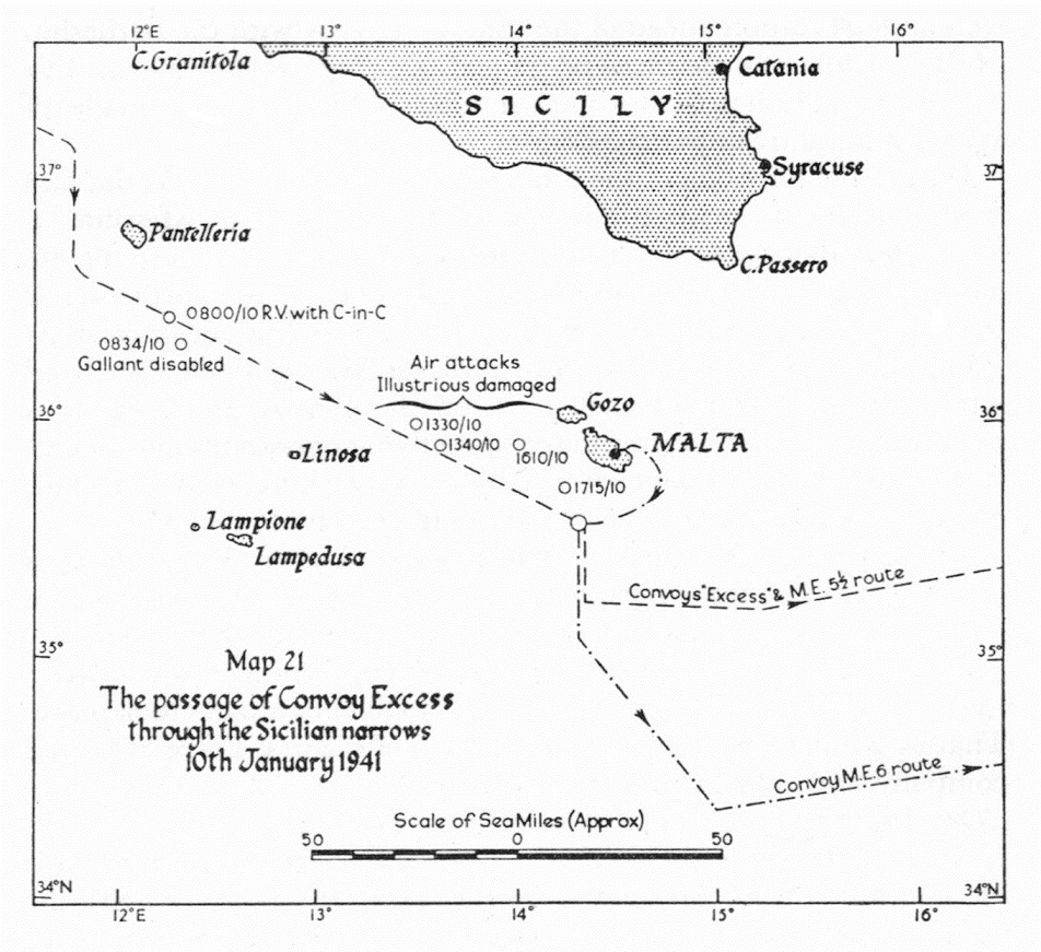 Course of action ... a map showing the proximity of the convoys to Sicily and HMS Illustrious' track back to Malta after being damaged on January 10.