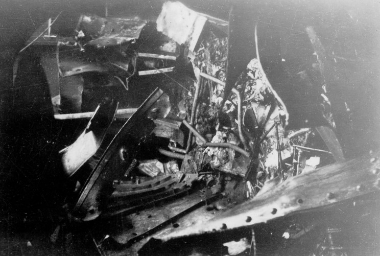 A thick tangle of burnt and distorted steel had to be cut away before Malta's dockyard workers and Illustrious' engineers could examine the condition of the disabled rudder machinery.