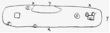 Captain Boyd's sketch of hit and near-miss locations drawn while in Malta immediately after the attack.  CLICK HERE to see his full, original report.