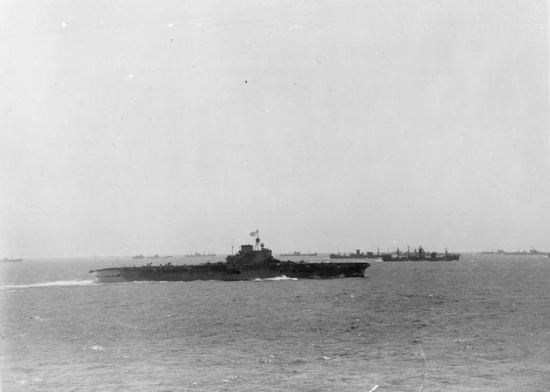 Preliminary movements: 3 - 10 August 1942: HMS VICTORIOUS underway with the convoy. The tanker OHIO can be seen off VICTORIOUS' starboard quarter.