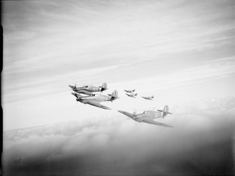 Sea Hurricanes fly in formation.
