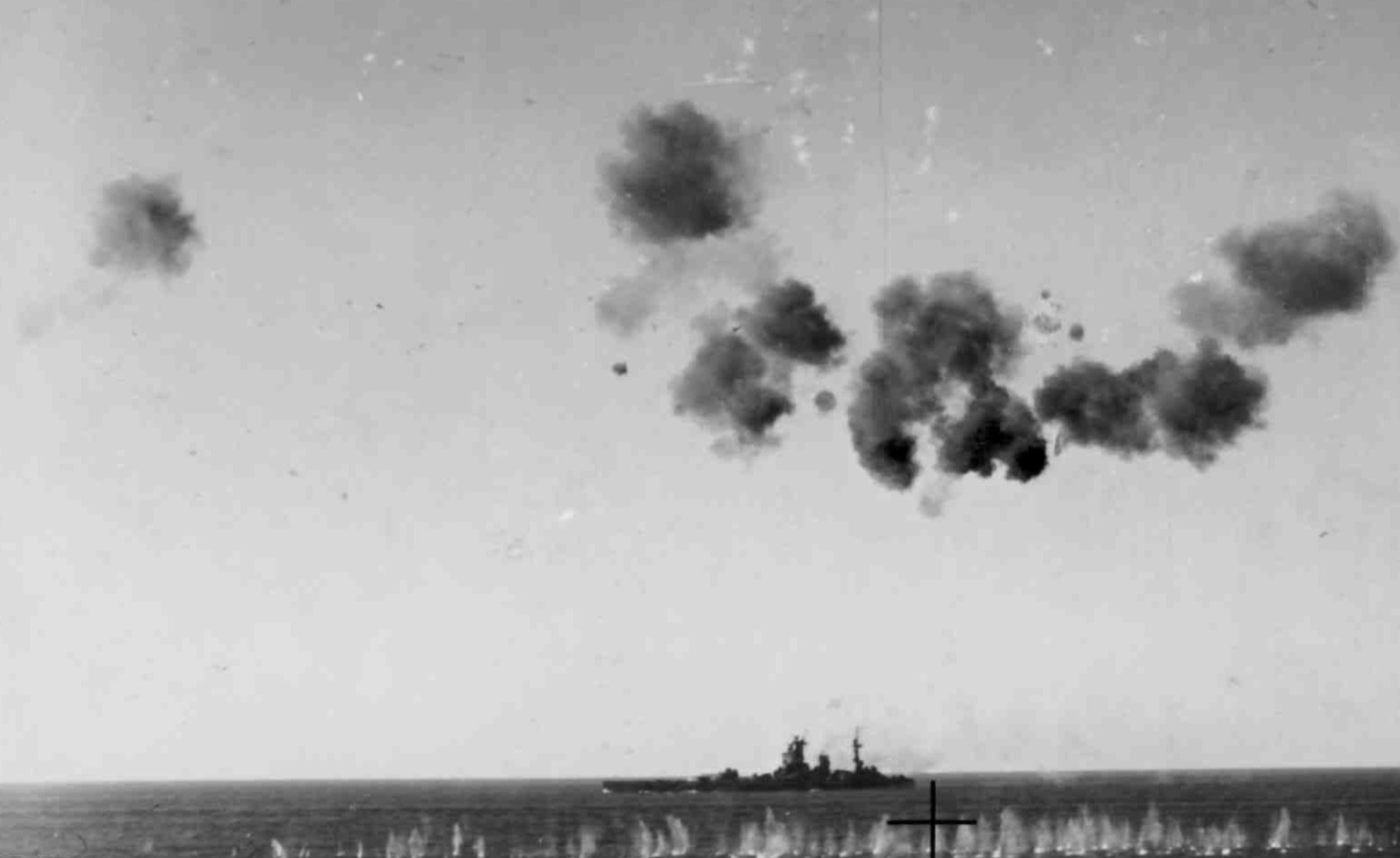 12 August: Air Attacks: HMS NELSON during the air battles on 12 August 1942.