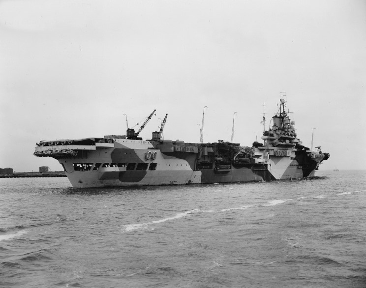 March 30, 1944: HMS Indomitable at the Norfolk Naval Shipyard, Portsmouth, Virginia