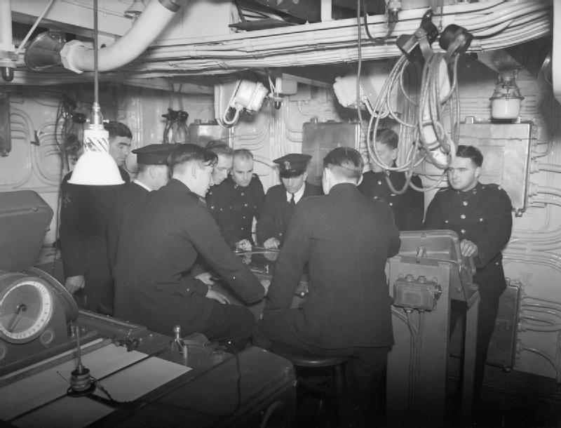 Royal Marines in the transmitting station of the aircraft carrier HMS VICTORIOUS.