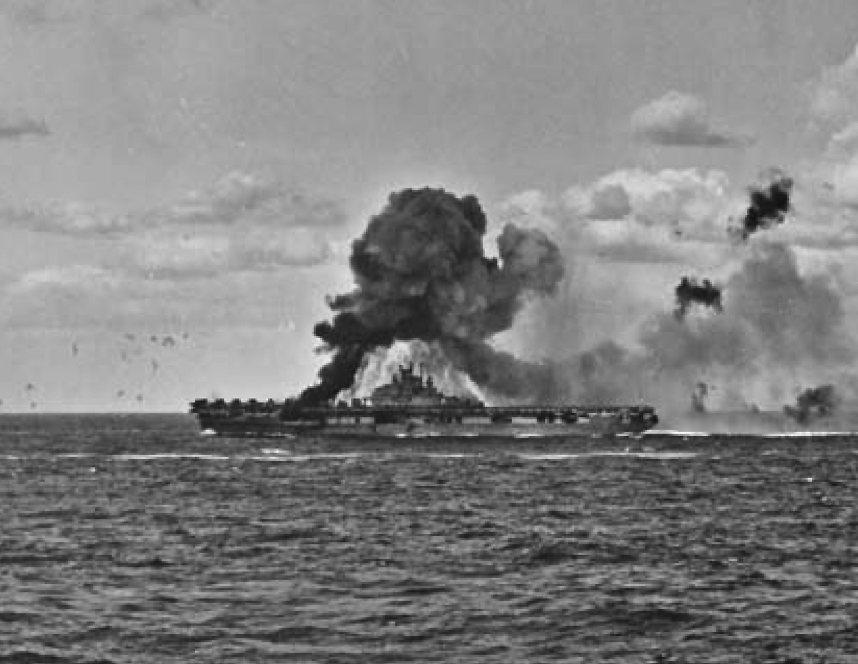 USS INTREPID erupts after a kamikaze strike.