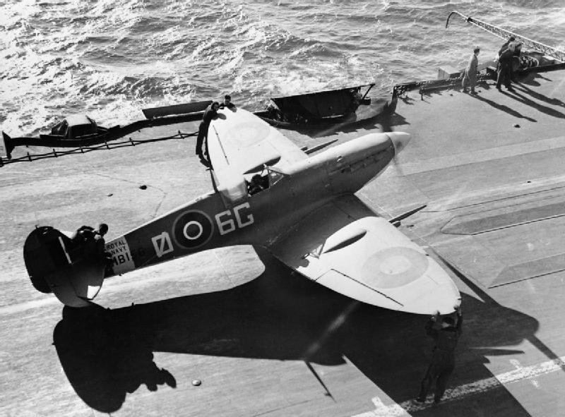 A Supermarine Seafire Mk IIc of No. 885 Naval Air Squadron on the flight deck of HMS FORMIDABLE in the Mediterranean, December 1942.