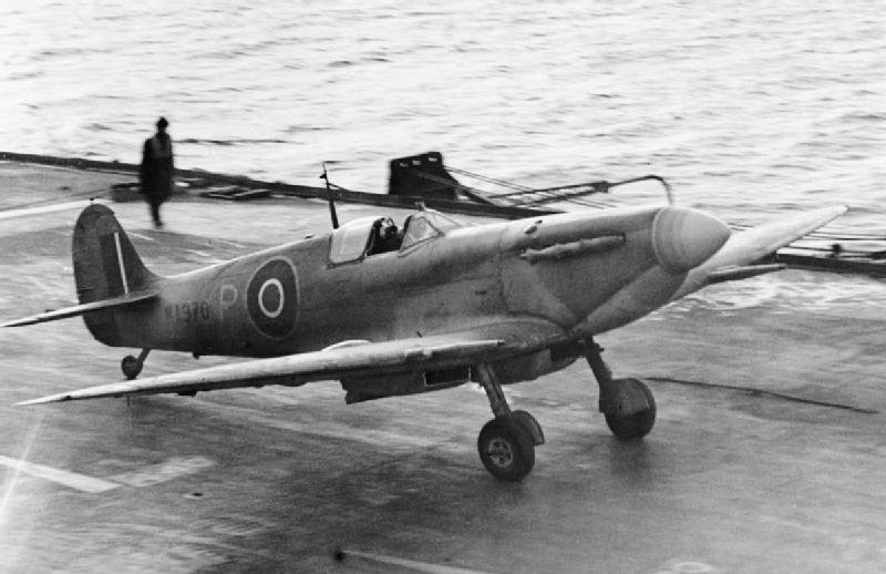 A prototype Supermarine Seafire landing on board HMS ILLUSTRIOUS, February 1943