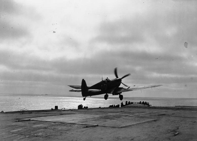 A Supermarine Seafire taking off from the carrier HMS FURIOUS.