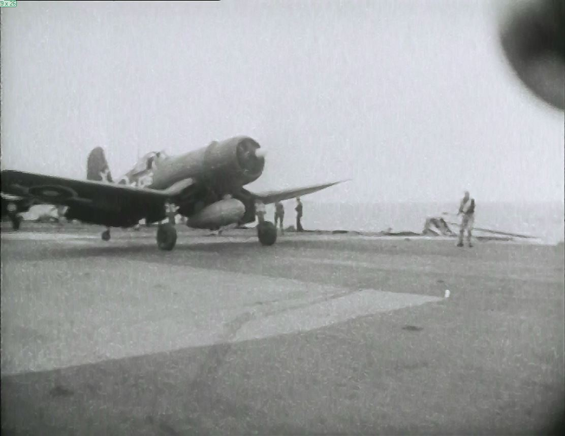 A Corsair launches from HMS FORMIDABLE.