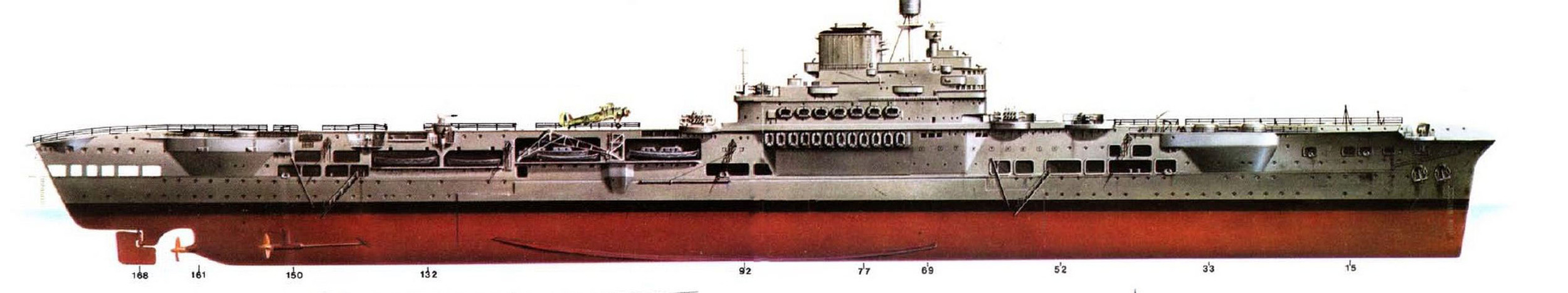 HMS ILLUSTRIOUS in her original 1940 overall grey guise, starboard profile.