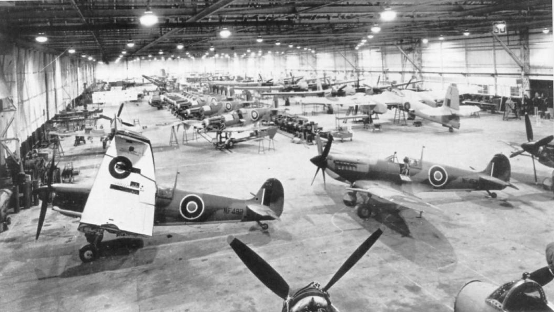 Seafire IIIs under construction in a Westland factory. Also evident are early versions of the twin-engine Welkin high-altitude fighter.