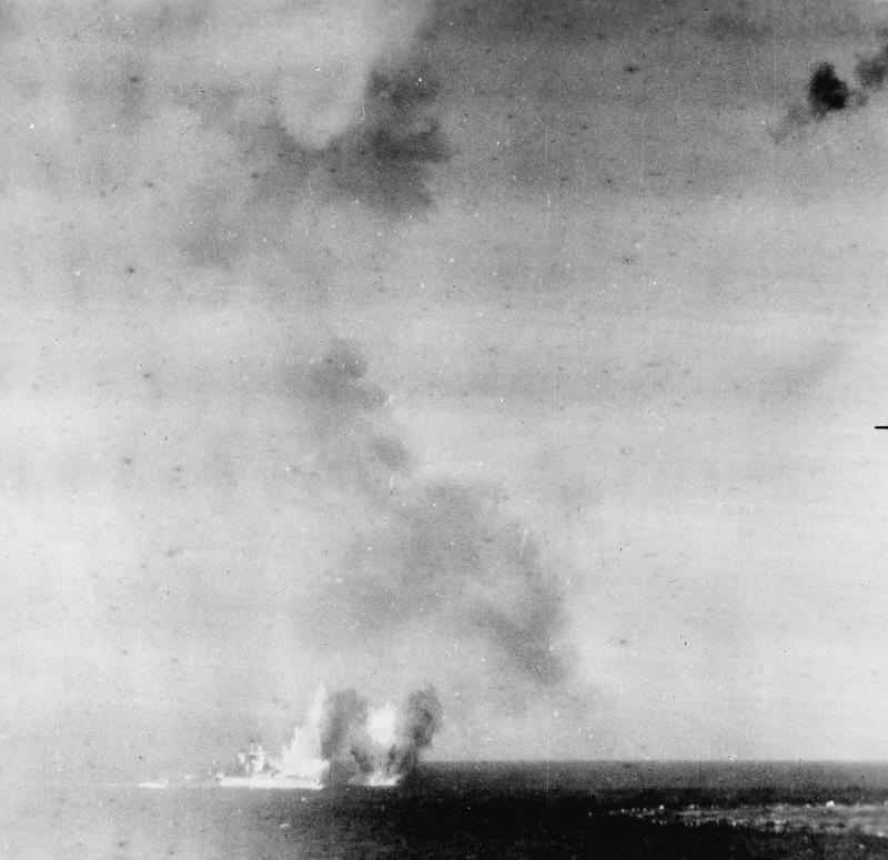 """Captioned """"attack on HMS ILLUSTRIOUS 10 January 1941"""", this picture may actually show bombs falling around HMS VALIANT or WARSPITE during that action."""
