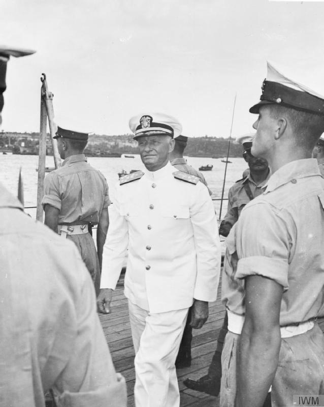 Admiral Chester Nimitz, Commander-in-Chief of the United States Pacific Fleet 1941-45, during his visit aboard HMS KING GEORGE V in Guam.