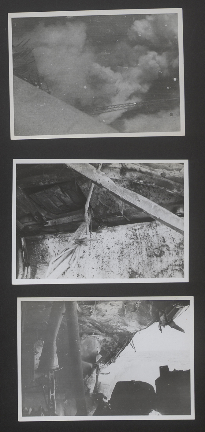 """Uncaptioned photographs in ADM 267/84 Formidable's file. The top image appears to be that listed as """"A.1. Hit starboard side forward, bomb bursting"""". The second is unidentified internal damage and the third, from the bow wave and wake, was obviously taken while still underway and may be """" A.4. 1 hour after bomb explosion, looking forward starboard side in capstan engine flat from about 21 station."""""""