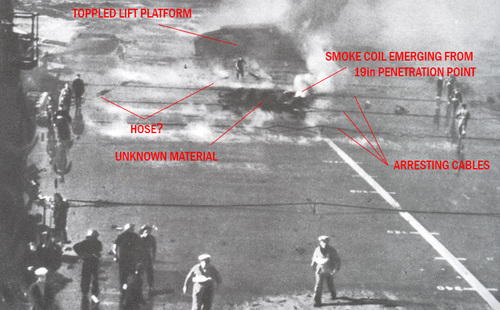 CLICK HERE: What did that? The enduring mystery in the famous Illustrious' battle damage photo.