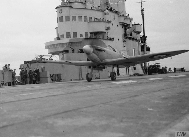 A Seafire undergoing trials aboard HMS Victorious between May 5 and 12, 1942.