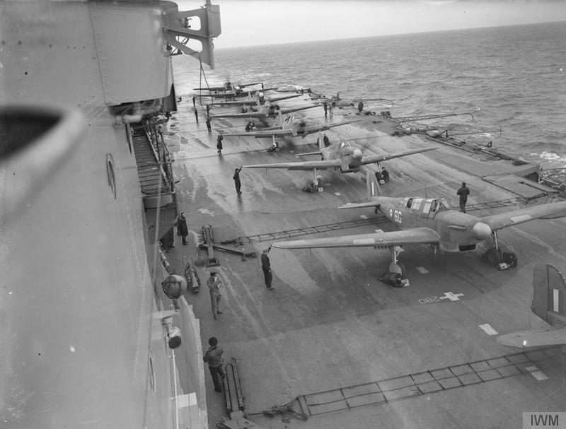 Flying exercises with the Fulmar aboard HMS VICTORIOUS in December, 1941.