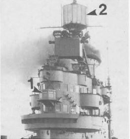 HMS Indomitable, 1943: The Type 271 surface-search radar 'lantern' can be seen in front of the bridge windows (1), while the Type 72 aircraft homing beacon is the large drum at the base of the mast (2).