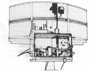 The Type 271 'cheese' antenna, as contained within the protective 'lantern' style perspex protective casing. This first generation centrimetric (S-band) surface-search radar could spot a periscope at 1300yards, and a surfaced submarine at 5000 yards. It was accurate to within 2-3 degrees and 250 yards. Capital ship ranges were about 11nm (12.6 miles, 20km)