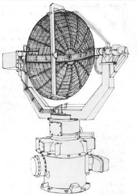 A Type 277 antenna assembly. It was accurate to between 1000 and 2000ft in height finding between 3.5 and 40 degrees of elevation. On a capital ship, it had a range of about 23nm (26.5 miles, 42.5km).