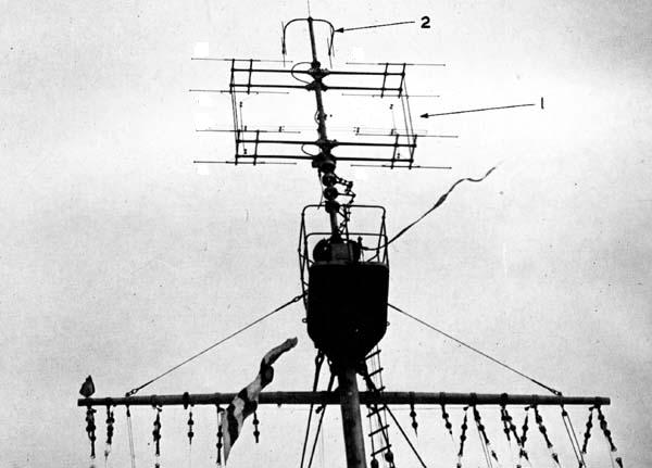 A Type 281 antenna (1) and a Type 243 IFF interrogator. The Type 281 air search radar entered service in February 1941 could detect a bomber at 115nm (132 miles, 213km). Specific reported performance was 88-115nm at 16,000ft, 38-50nm for aircraft at 3000ft., 7-9nm for 100ft. Range accuracy was 100yds between 14,000 and 28,000yds, with a bearing accuracy of 1 degree.