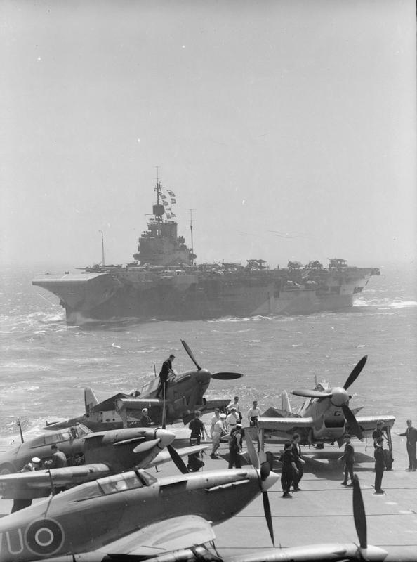 HMS INDOMITABLE from the aircraft carrier VICTORIOUS during the Pedestal Malta convoy.