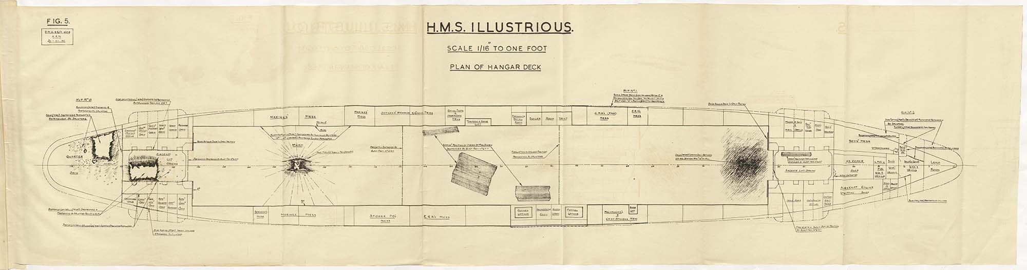 The hangar deck damage diagram in the British National Archive. Click on the image for a larger version to display.