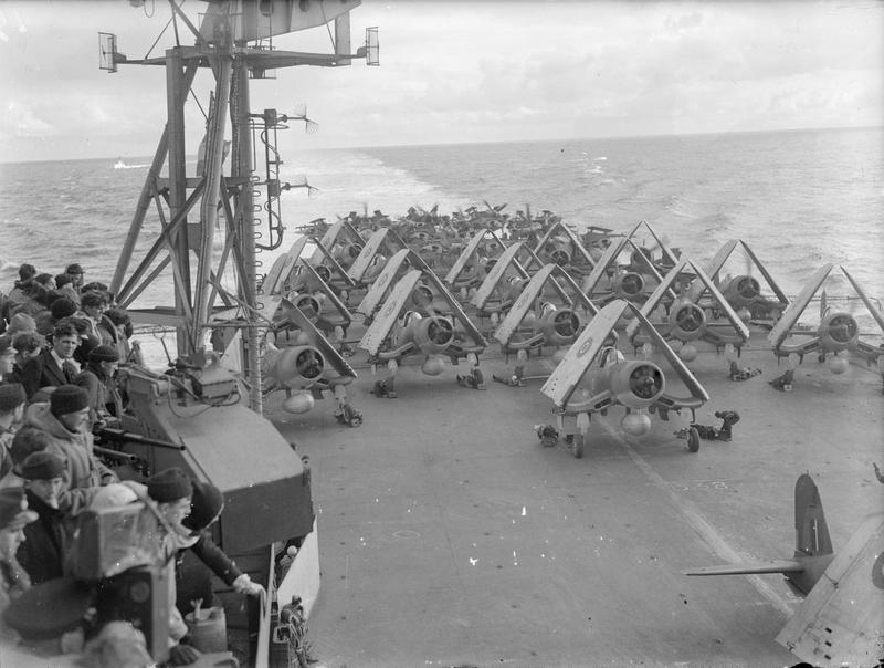 August 1944, on board HMS Formidable. Aircraft of the FAA carried out raids on the German battleship Tirpitz in Alten Fjord.