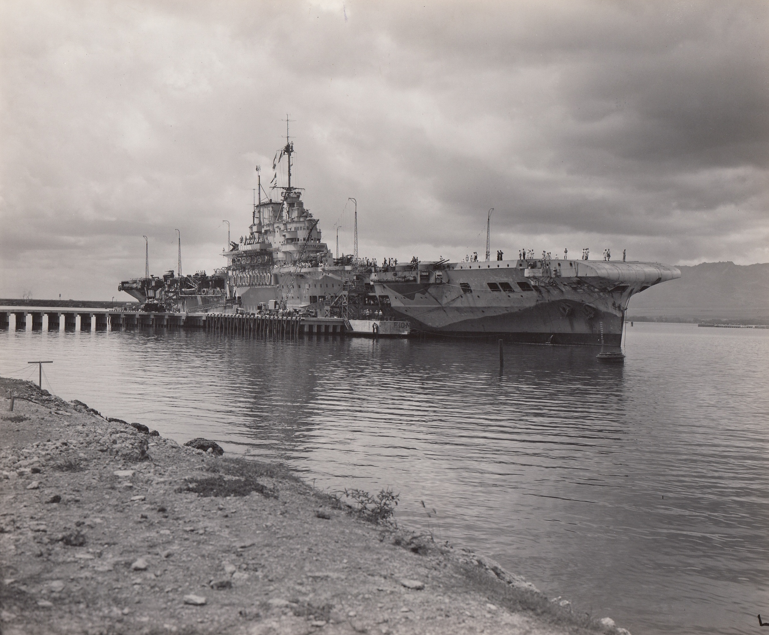 HMS Victorious shortly after arriving at Ford Island, Pearl Harbour, in March 1943.