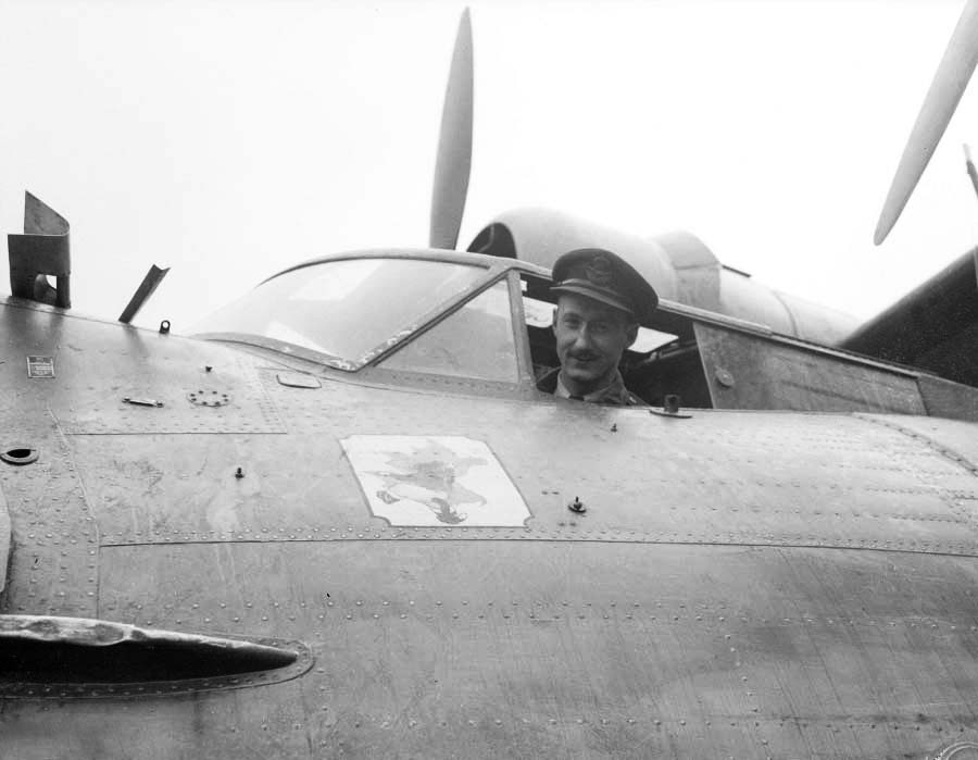 "Royal Canadian Air Force Squadron Leader Leonard Birchall, the ""Saviour of Ceylon"", aboard a Catalina aircraft before being shot down and captured near the island of Ceylon by the Japanese in 1942. Before being shot down, Birchall warned of a Japanese attack on Ceylon."