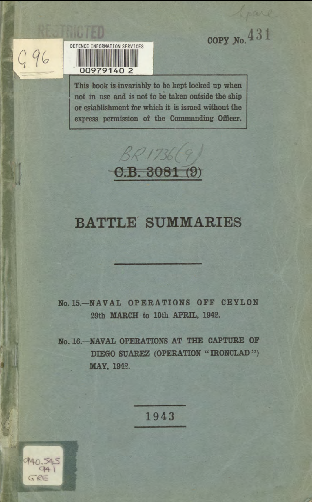 "A pdf file of the original 1943 ""Battle Summary"" compiled for the Defence Information Service can be downloaded by clicking the above image."