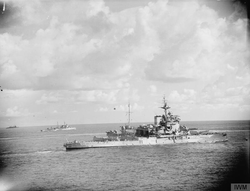 HMS WARSPITE in April, May 1942.