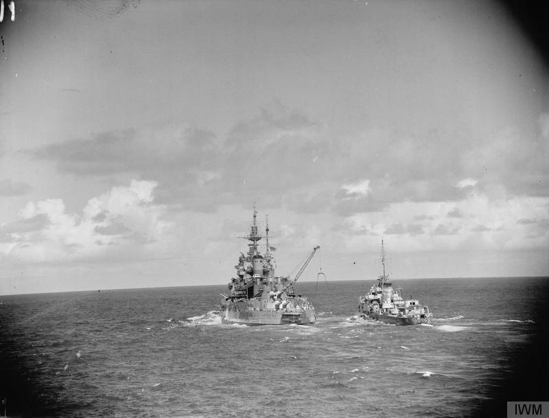 HMS WARSPITE refuels HMAS NESTOR in April/May 1942.