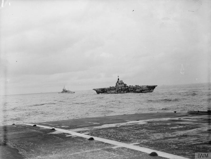 HMS INDOMITABLE and WARSPITE, seen from the flight deck of FORMIDABLE.