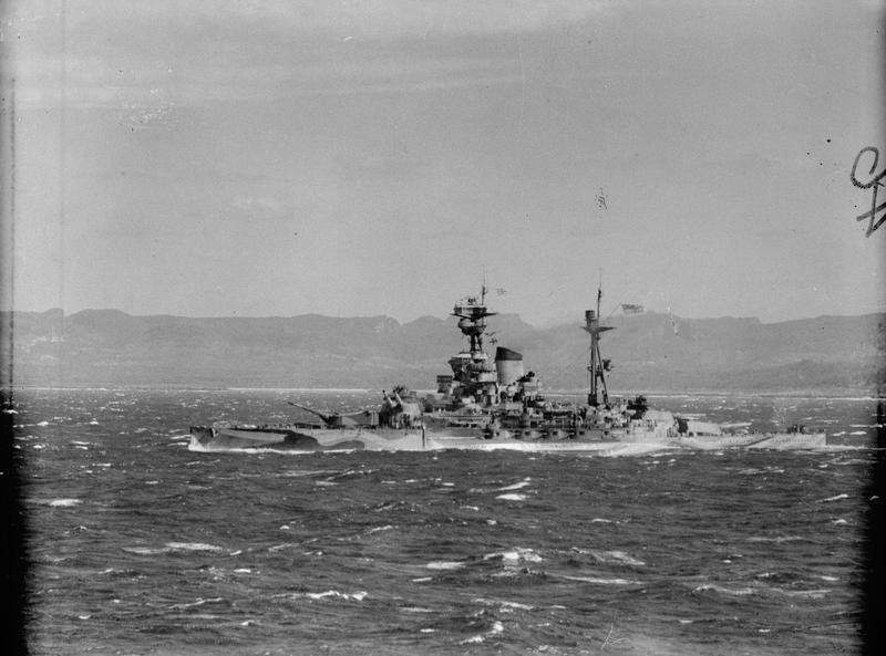HMS Ramillies during the Madagascar operation in May 1942. The R-class had inadequate freshwater distilling equipment, limiting their endurance to just three days.
