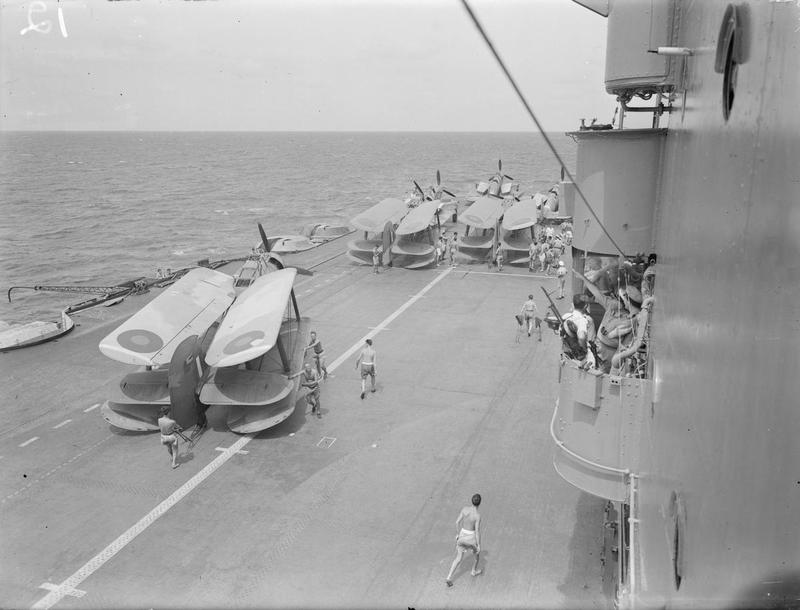 Fulmars and Albacores on the forward deck of HMS INDOMITABLE.