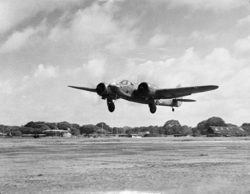 A Blenheim takes off from Racecourse airfield, Colombo.