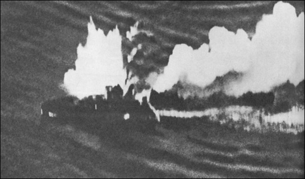 HMAS VAMPIRE being bombed.