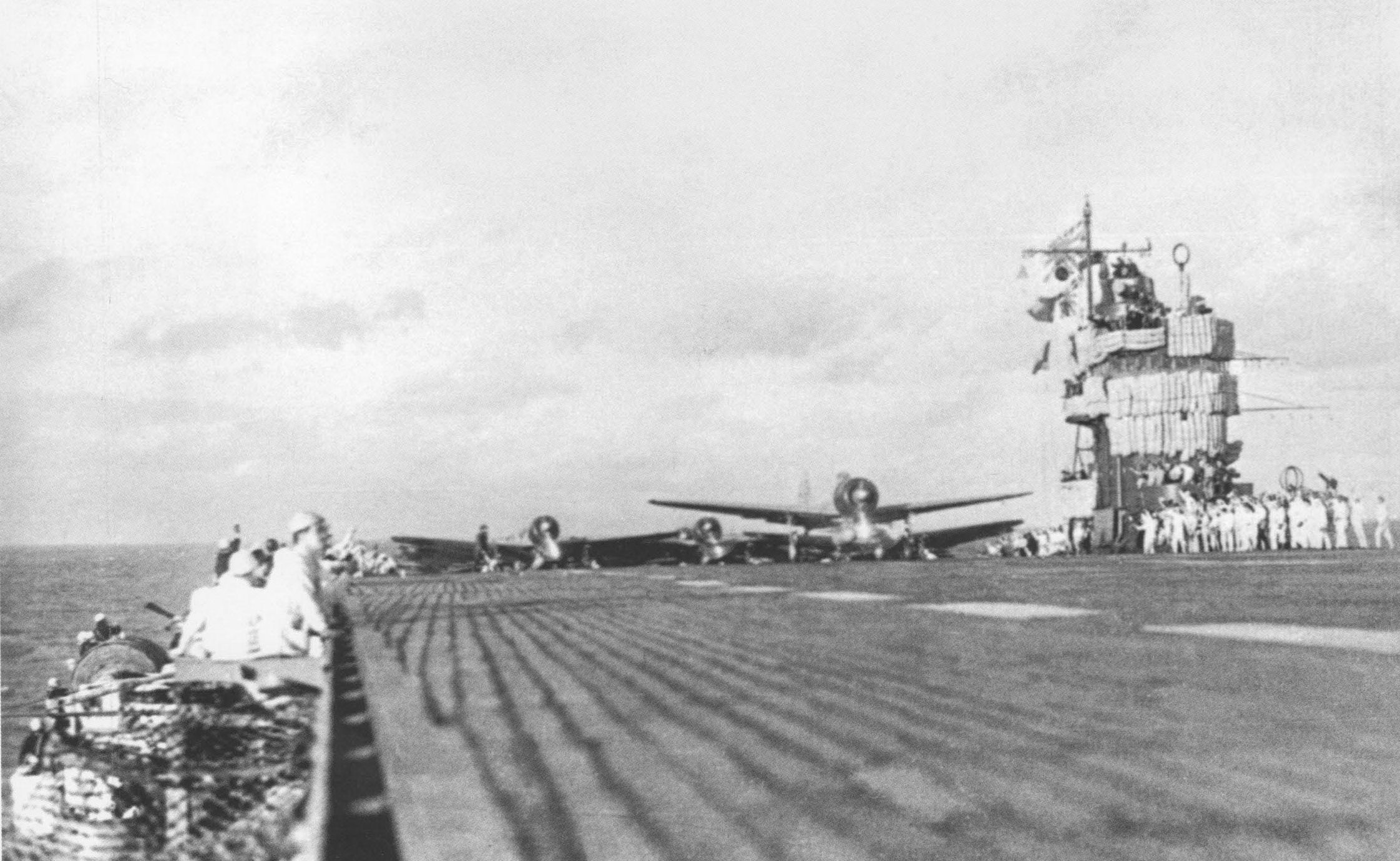 Aircraft prepare for take-off aboard Akagi.