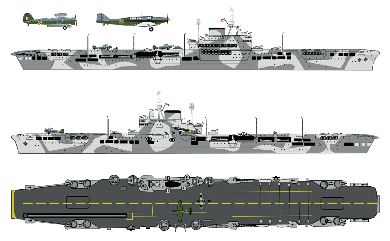 HMS Illustrious wore this MS4a pattern applied over the previous overall B6 at the time of the January 10 1941 attack. While the pattern was very similar on both sides, the port side appears to have incorporated more curves. The deck was 507a and the markings dull yellow. By January 10 the broken flight deck centre line had been painted into a solid stripe. I have seen no evidence that the forward round-down of the flight deck was ever painted yellow.  Source: British and Commonwealth Warship Camouflage of WWII, Volume 2, Battleships and Aircraft Carriers, by Malcolm Wright