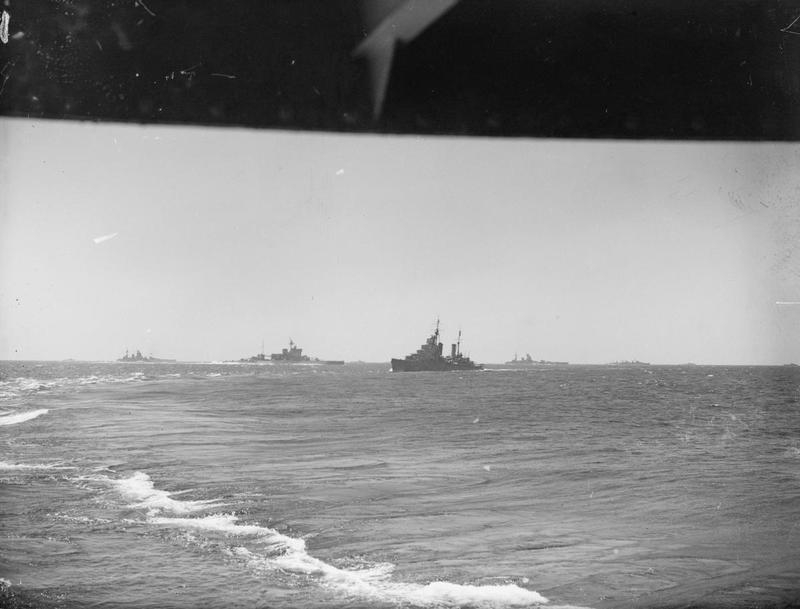 Left to right: HMS RODNEY, WARSPITE, a Cruiser, HMS NELSON and cruisers of Force H in the Ionan Sea, July 10 to 16.