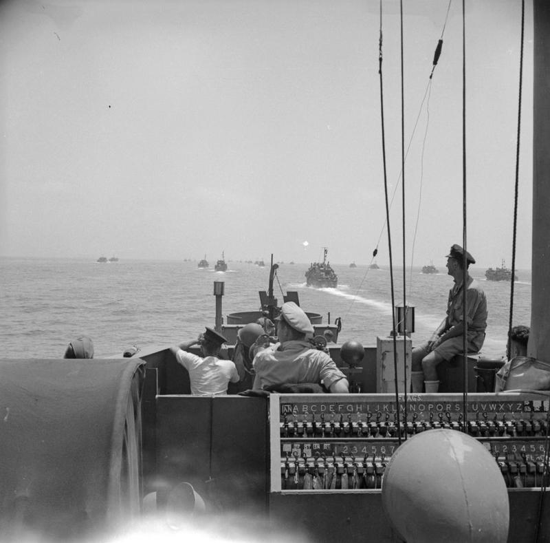 Operation Husky: The Sicily Landings 9 - 10 July 1943: The invasion fleet at sea, viewed from the bridge of one of the ships.