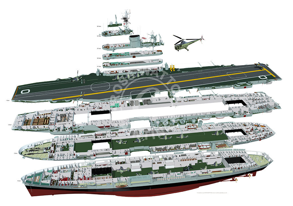 Click on the above image to be taken to the artist's web page. The cut-away shows Ark Royal, which was somewhat more modified over the 1945 design than her sister Eagle. But the basic configuration remains the same - and the hangar arrangement is clearly evident.