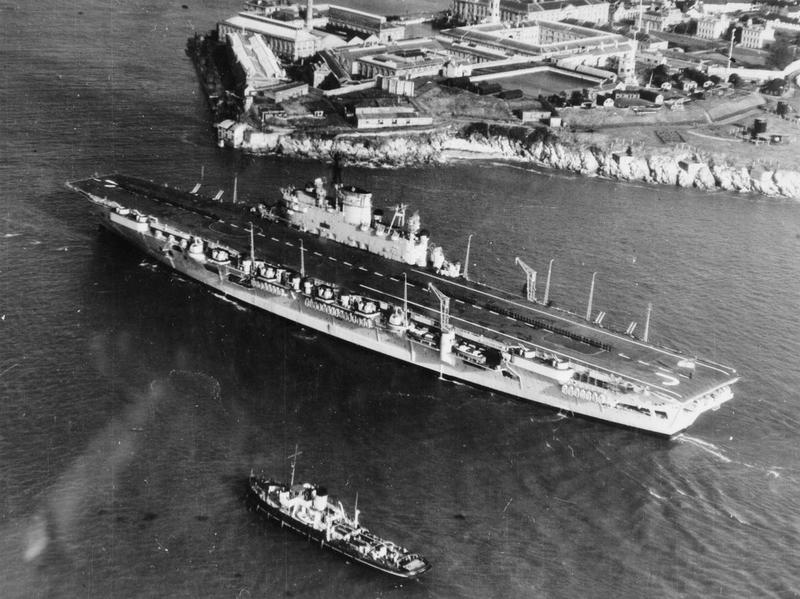Audacious class aircraft carrier HMS EAGLE enters Portsmouth Harbour