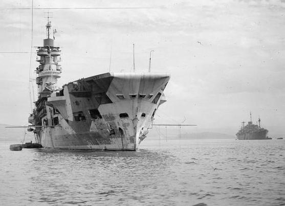 HMS UNICORN in Greenock, 24 June, 1943.