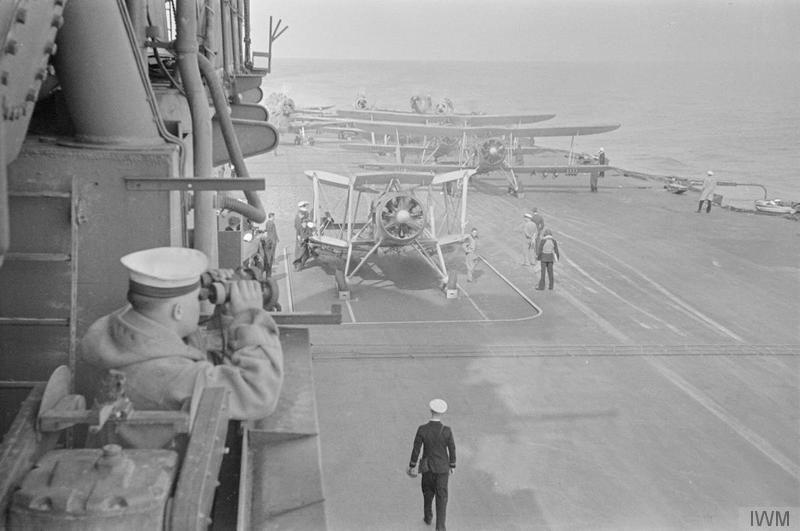Swordfish are prepared for take-off aboard HMS ARK ROYAL
