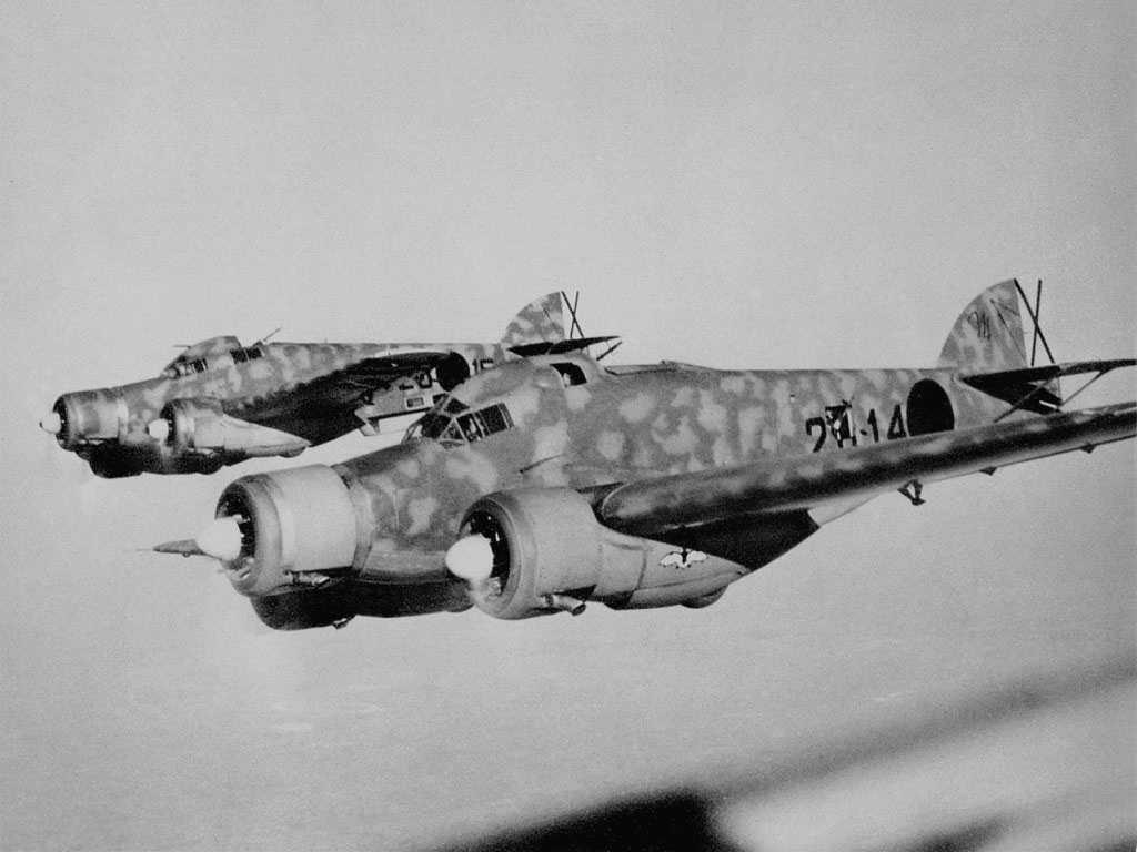 A flight of Italian SM79 Sparrowhawk bombers.