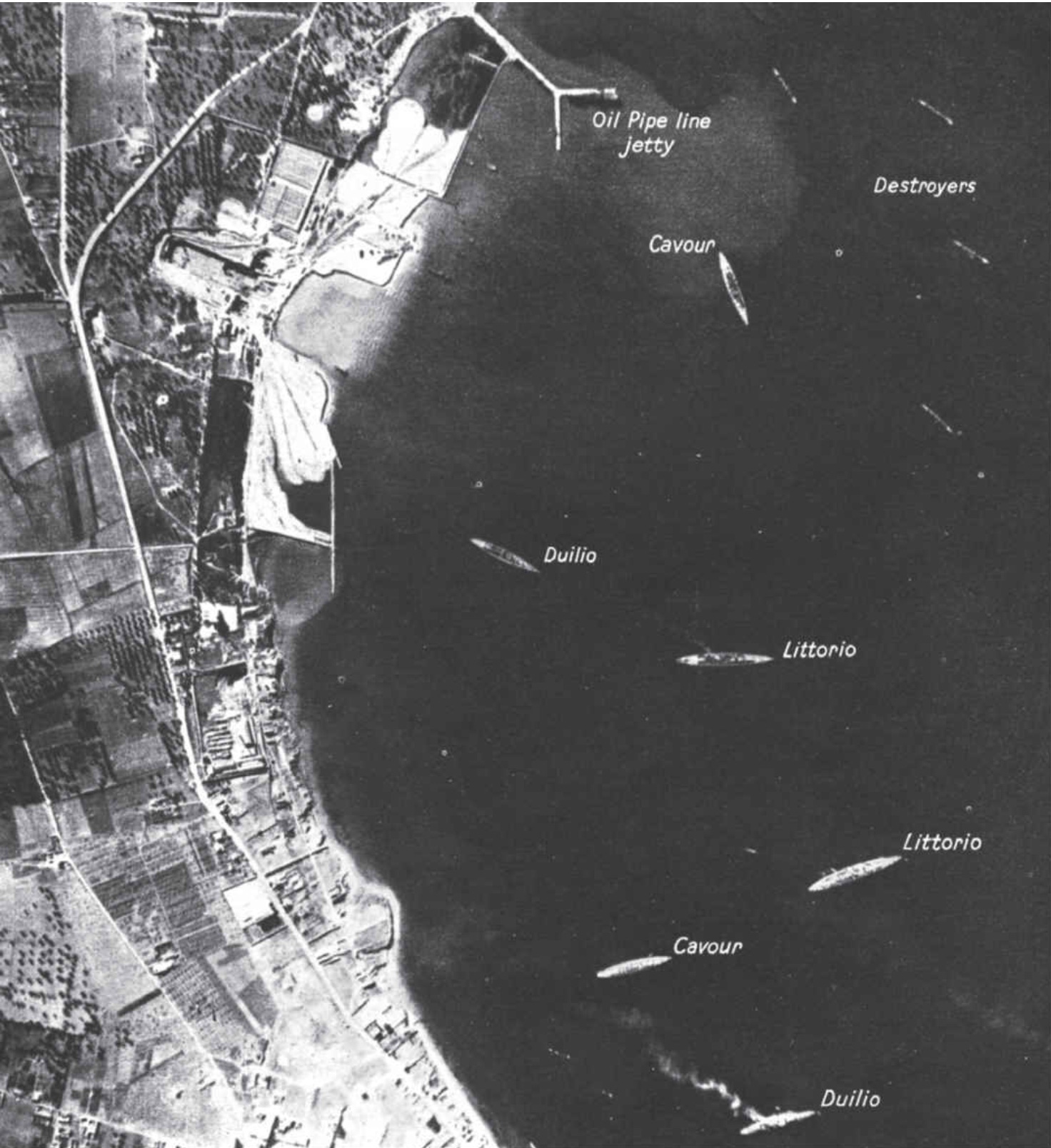 One of the reconnaissance photographs delivered to HMS ILLUSTRIOUS the day before Operation Judgement.