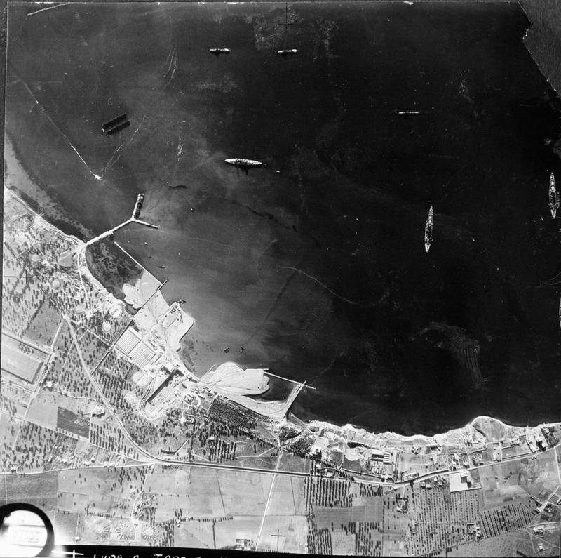 Battleships are seen anchored in Mar Grande in this Maryland reconnaissance photo taken in the lead-up to Operation Judgement.